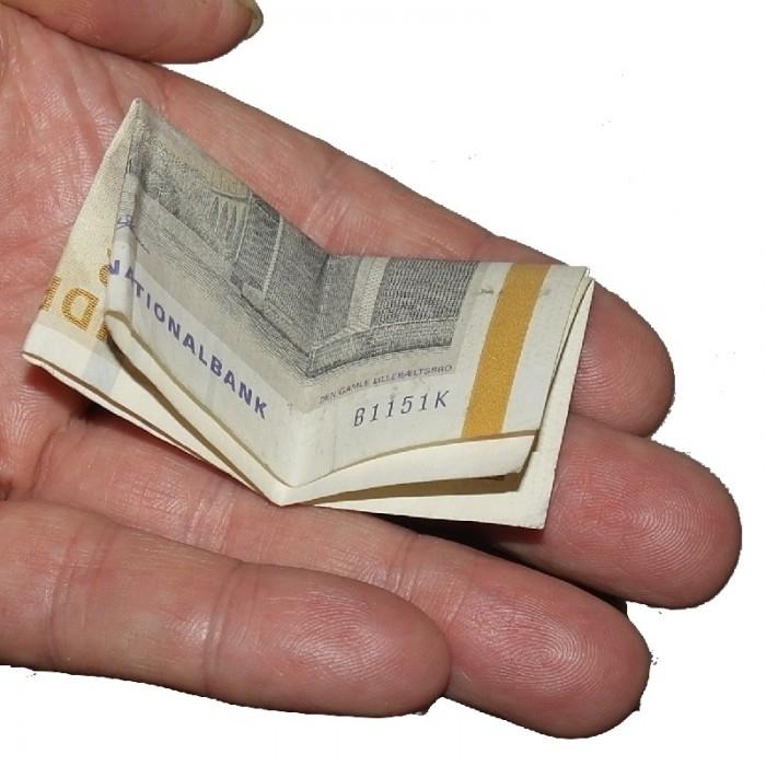 Selvfoldende pengeseddel