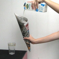 Milk in Newspaper